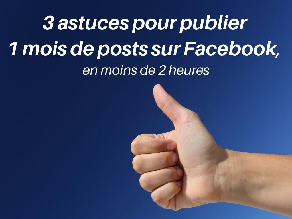 Formation Gratuite : 3 astuces pour publier  1 mois de posts sur Facebook,  en moins de 2 heures